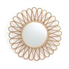 Miroir rotin et bambou forme soleil Ø50 cm, Nogu