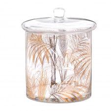 Boîte en verre et palmiers dorés