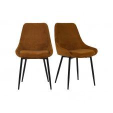 Lot de 2 chaises design velours côtelé Orange