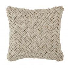 Coussin tissé main en laine beige 45×45