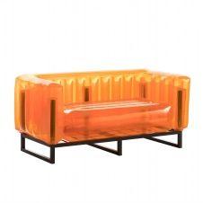Canapé cadre aluminium assise thermoplastique orange