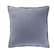 Coussin en lin lavé bleu 45×45
