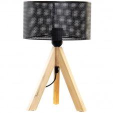 Lampe rétro en métal et bois H34cm