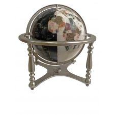 Globe terrestre sur 4 pieds acier en pierres fines N&B