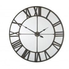 Horloge en miroir et métal grisé D123