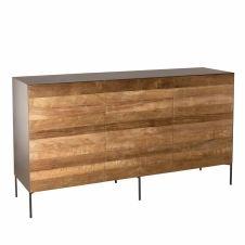 Buffet 3 portes bois teck recyclé métal et pieds métal
