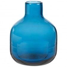 Mini vase en verre teinté bleu H14