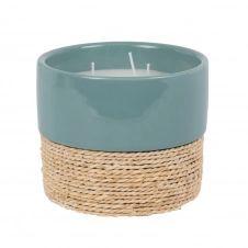 Bougie parfumée en céramique bleue et corde