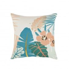 Coussin d'extérieur imprimé tropical multicolore 45×45