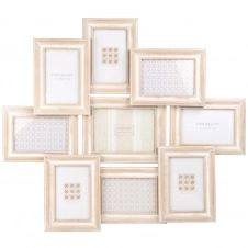 Cadre multivues 9 photos en paulownia blanchi 65×56