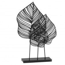 Statuette feuilles en métal noir et vert H42