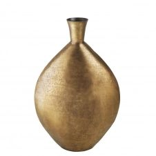 Vase boule en métal martelé coloris bronze H70