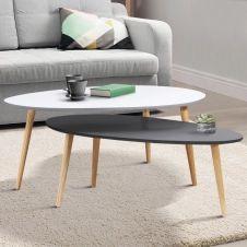 Lot de 2 tables basses gigognes laquées PM gris GM blanc scandinave
