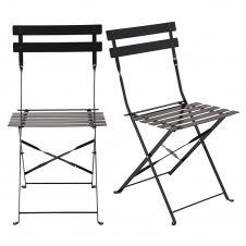 2 chaises pliantes en métal noir satiné Guinguette