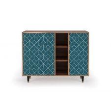 Buffet bleu 125cm 3 tiroirs et 1 porte
