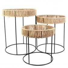Trio tables basses de jardin en papier tressé et métal noir
