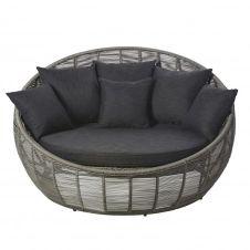 Canapé rond de jardin 3 places en résine tressée grise Tamarin