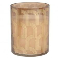 Bougie parfumée en verre teinté noir motifs graphiques dorés