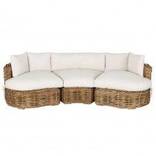 Canapé de jardin 3 places en rotin tressé et coussins blancs St Tropez