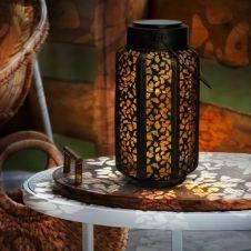Lanterne solaire à LED motifs orientaux à poser ou suspendre
