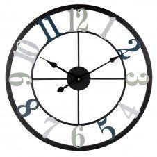 Horloge en métal noir, bleu et gris D60